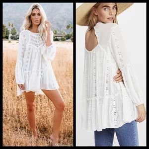 Free People Bohemian Eyelet Embroidered Lace Dress